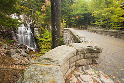A waterfall along Hadlock Brook as seen from Waterfall Bridge on the carriage roads  in Maine's Acadia National Park.