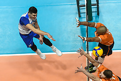 02-01-2020 SLO: Slovenia - Netherlands, Maribor<br /> Klemen Cebulj of Slovenia, Nimir Abdelaziz #14 of Netherlands during friendly volleyball match between National Men teams of Slovenia and Netherlands