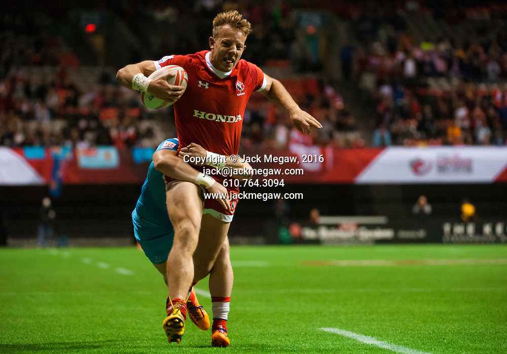 John Moonlight of Canada scores a try against Russia during the pool stages of the 2016 Canada Sevens leg of the HSBC Sevens World Series Series at BC Place in  Vancouver, British Columbia. Saturday March 12, 2016.<br /> <br /> Jack Megaw<br /> <br /> www.jackmegaw.com<br /> <br /> 610.764.3094<br /> jack@jackmegaw.com