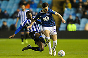 Blackburn Rovers forward Ben Brereton (20) on the ball as Sheffield Wednesday midfielder Kadeem Harris (7) attempts to tackle him during the EFL Sky Bet Championship match between Sheffield Wednesday and Blackburn Rovers at Hillsborough, Sheffield, England on 18 January 2020.