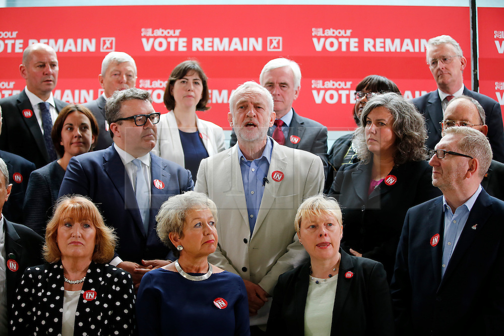 © Licensed to London News Pictures. 14/06/2016. London, UK. Labour Party Leader Jeremy Corbyn is surrounded by members of the Shadow Cabinet and the TUC as he speaks on the EU Referendum. Photo credit: Tolga Akmen/LNP