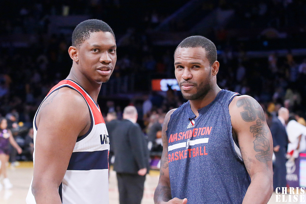 21 March 2014: Washington Wizards center Kevin Seraphin (13) and Washington Wizards forward Trevor Booker (35) are seen at the end of the Washington Wizards 117-107 victory over the Los Angeles Lakers at the Staples Center, Los Angeles, California, USA.