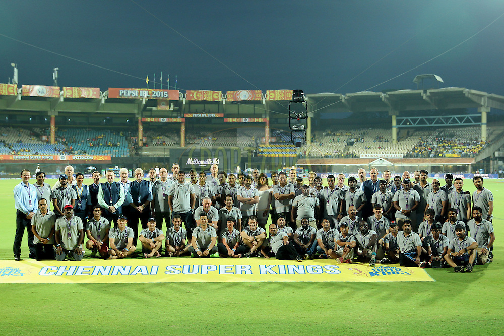 TV crew during match 47 of the Pepsi IPL 2015 (Indian Premier League) between The Chennai Superkings and The Rajasthan Royals held at the M. A. Chidambaram Stadium, Chennai Stadium in Chennai, India on the 10th May 2015.Photo by:  Prashant Bhoot / SPORTZPICS / IPL
