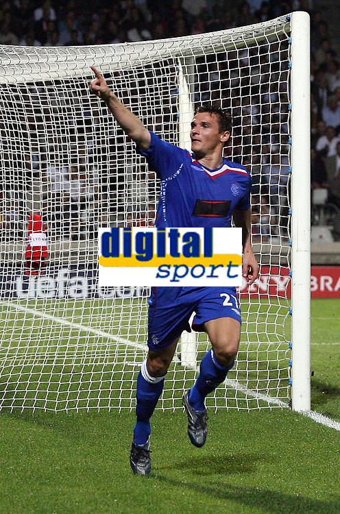 Photo: Paul Thomas.<br /> Lyon v Rangers. UEFA Champions League, Group E. 02/10/2007.<br /> <br /> Lee McCulloch of Rangers celebrates his goal.