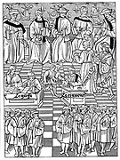Assembly of the Provostship of the Merchants of Paris. From 'Ordonnances Royaux del la Prevote des Marchands et Eschevinage de la Ville de Paris' Paris 1528. Woodcut. Dignitaries sit on elevated bench while Secretary and his Clerk put business of the meeting before them.  Centre left records are being kept, centre  money is being paid out. Foreground, merchants are gathered, all with badge of sailing ship on sleeve.
