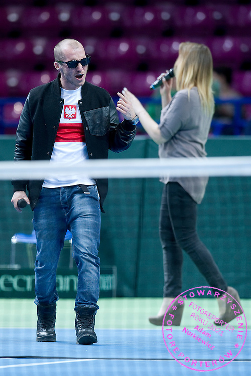 Mezo's concert while opening ceremony during the BNP Paribas Davis Cup 2014 between Poland and Croatia at Torwar Hall in Warsaw on April 5, 2014.<br /> <br /> Poland, Warsaw, April 5, 2014<br /> <br /> Picture also available in RAW (NEF) or TIFF format on special request.<br /> <br /> For editorial use only. Any commercial or promotional use requires permission.<br /> <br /> Mandatory credit:<br /> Photo by &copy; Adam Nurkiewicz / Mediasport
