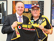 Vodafone Warriors at Parliament - Sir Peter Leitch and Ben Matulino hand over a jersey and session tickets to Rt Hon John Key. Level 9, Rt Hon John Key office, Parliament, Wellington, New Zealand on Wednesday 20 March 2013. Photo: Justin Arthur / photosport.co.nz