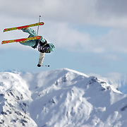 Jossi Wells, New Zealand, in action during his second place finish in the Freeski Slopestyle Men's Final at Snow Park, New Zealand during the Winter Games. Wanaka, New Zealand, 18th August 2011. Photo Tim Clayton