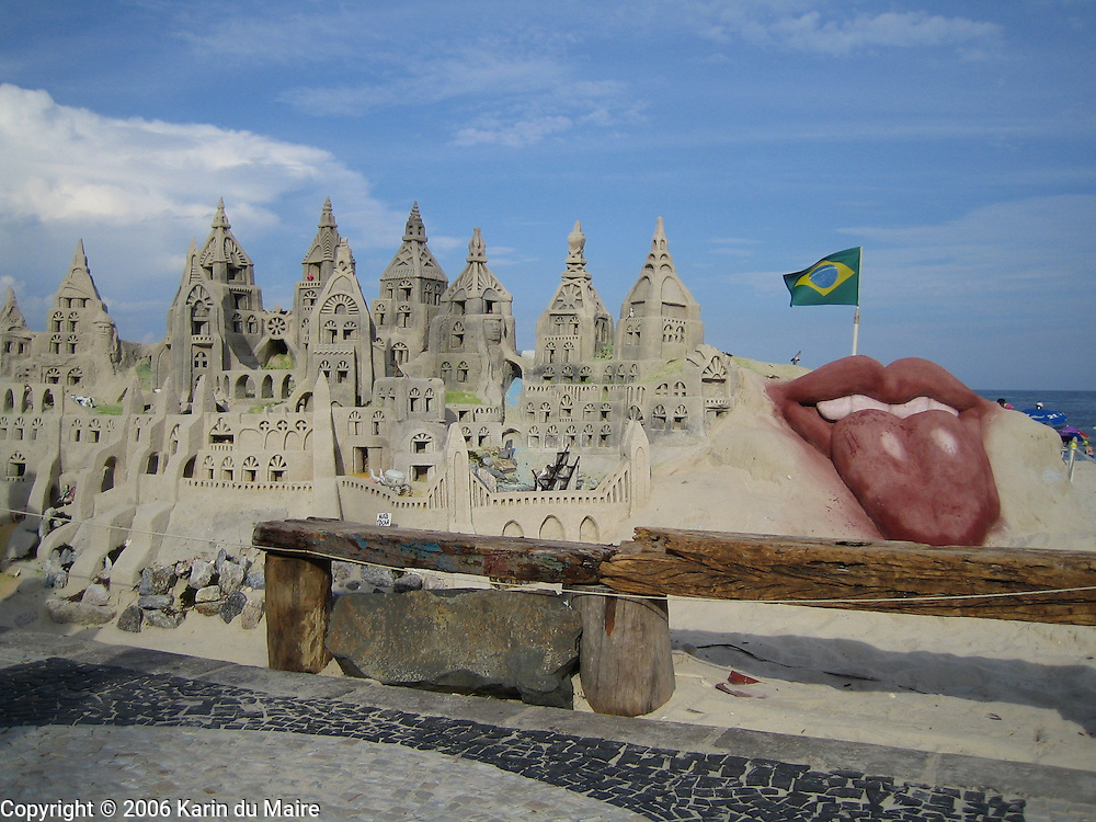 Sandcastle on Copacabana Beach in Rio de Janeiro, Brazil. Lips and tongue logo in honor of the Rolling Stones concert on the beach!