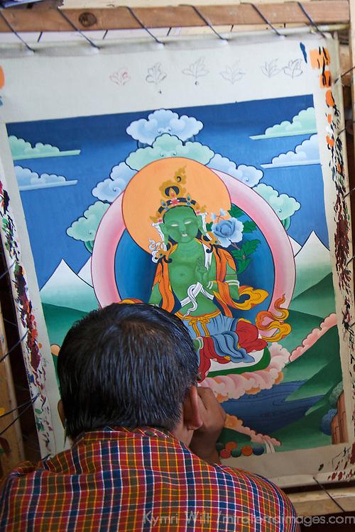Asia, Bhutan, Thimpu. Thangka painter at the National Institute for Zorig Chusum.