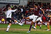 Hearts FC Forward Osman Sow scores an offside goal during the Ladbrokes Scottish Premiership match between Heart of Midlothian and Motherwell at Tynecastle Stadium, Gorgie, Scotland on 16 January 2016. Photo by Craig McAllister.