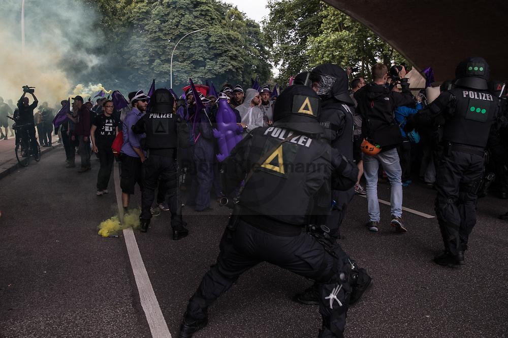 Hamburg, Germany - 07.07.2017<br /> <br /> Block G20 protests in Hamburg.<br /> <br /> Block G20-Proteste in Hamburg.<br /> <br /> Photo: Bjoern Kietzmann
