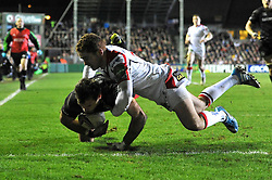 Niall Morris (Leicester) scores a try in the corner - Photo mandatory by-line: Patrick Khachfe/JMP - Tel: Mobile: 07966 386802 18/01/2014 - SPORT - RUGBY UNION - Welford Road, Leicester - Leicester Tigers v Ulster Rugby - Heineken Cup.