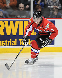Taylor Hall of the Windsor Spitfires in the Home Hardware Top Prospects Skills Competition in Windsor ON on Tuesday. Photo by Terry Wilson / OHL Images