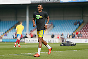 Wimbledon forward Michael Folivi (41) warming up during the EFL Sky Bet League 1 match between Scunthorpe United and AFC Wimbledon at Glanford Park, Scunthorpe, England on 30 March 2019.