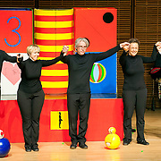 May 5, 2012 - New York, NY : From left, puppeteers Philippe Nicolas Brunner, Ursula Winzer, Vladimir Fediakov, and Eva Wiener of the Salzburg Marionette Theater take a bow with pianist András Schiff, far right, after performing Claude Debussy's 'La boîte à joujoux (The Toy Box) (1913),' at Zankel Hall on Saturday evening. CREDIT: Karsten Moran for The New York Times