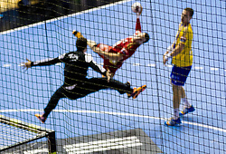 Action during handball match between RK Celje Pivovarna Lasko, SLO and MKB-MVM Veszprem, HUN in 4th Round of EHF Champions League 2014/15, on October 18, 2014 in Arena Zlatorog, Celje, Slovenia. Photo by Vid Ponikvar / Sportida.com