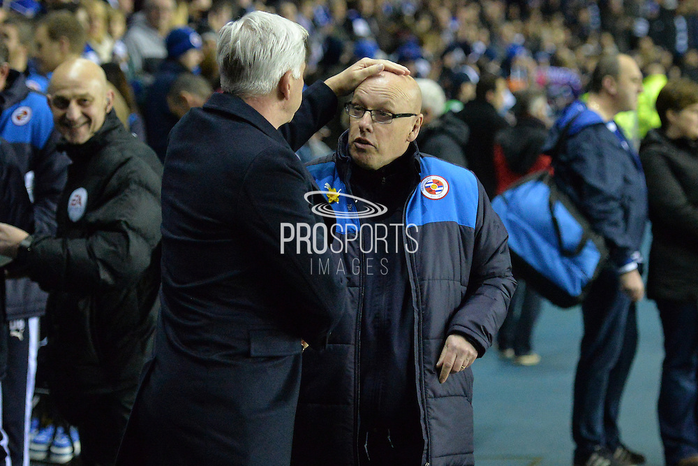 Reading FC Manager Brian McDermott meets Crystal Palace Manager Alan Pardew during the The FA Cup Quarter Final match between Reading and Crystal Palace at the Madejski Stadium, Reading, England on 11 March 2016. Photo by Mark Davies.