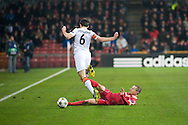 20.11.12. Copenhagen, Denmark.  Stokholm (R) of FC Nordsjaelland fights for the ball with Stepanenko (L) of FC Shakhtar Donetsk during the UEFA Champions League group E stage match. Photo: © Ricardo Ramirez.