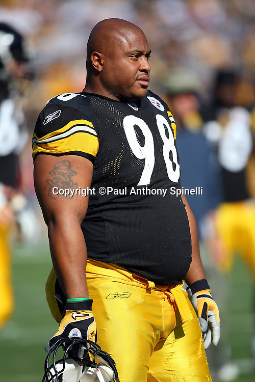 Pittsburgh Steelers rookie defensive tackle Casey Hampton (98) looks on during the NFL football game against the Minnesota Vikings, October 25, 2009 in Pittsburgh, Pennsylvania. The Steelers won the game 27-17. (©Paul Anthony Spinelli)
