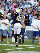 San Diego Chargers tight end Antonio Gates (85) reaches high and catches a 12 yard touchdown pass that gives the Chargers a 7-0 first quarter lead during the 2015 NFL week 5 regular season football game against the Pittsburgh Steelers on Monday, Oct. 12, 2015 in San Diego. The Steelers won the game 24-20. (©Paul Anthony Spinelli)