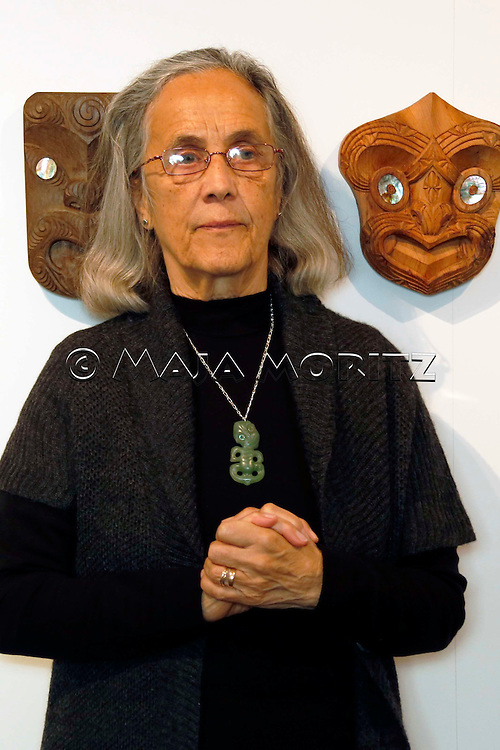 Patricia Grace in front of art work created by her grandson Rakairoa Hori, Pataka Museum of Arts and Cultures, Porirua, New Zealand