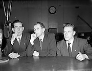 Fermanagh Question Time Team at Phoenix Hall for Radio Review<br /> 02/08/1953<br /> <br /> Thanks so much to Edel Bannon from Boho, Co Fermanagh for identifying all three gentlemen in the photograph! They are, from left to right: Jim Bannon (Boho), Ronnie Fallis, (Enniskillen) and Joe Farrell (Derrygonnelly)