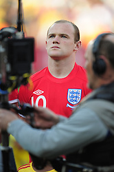 Wayne Rooney lines up before the 2010 World Cup Soccer match between England and Germany in a group 16 match played at the Freestate Stadium in Bloemfontein South Africa on 27 June 2010.