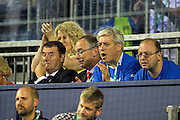 John Bercow, The Speaker of the House of Commons, enjoys the action during the Davis Cup Semi Final between Great Britain and Argentina at the Emirates Arena, Glasgow, United Kingdom on 16 September 2016. Photo by Craig Doyle.