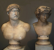 Marble bust of Hadrian, Roman, AD117-138. and his lover Antinous (right). Hadrian, like all Roman emperors, used statues to diffuse his image across the Roman world.  Statues often showed the emperor as a general or a priest.  This bust shows Hadrian naked.