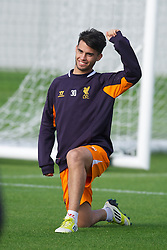 LIVERPOOL, ENGLAND - Wednesday, October 3, 2012: Liverpool's 'Suso' Jesus Joaquin Fernandez Saenz De La Torre during a training session at Melwood Training Ground ahead of the UEFA Europa League Group A match against Udinese Calcio. (Pic by David Rawcliffe/Propaganda)