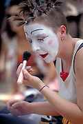 Clown putting on make up  Avignon, France