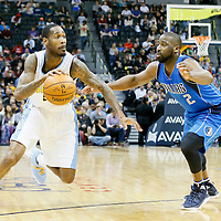 06 March 2016: Denver Nuggets forward Will Barton (5) drives past Dallas Mavericks guard Raymond Felton (2) during the Denver Nuggets 116-114 overtime victory over the Dallas Mavericks, at the Pepsi Center, Denver, Colorado, USA.