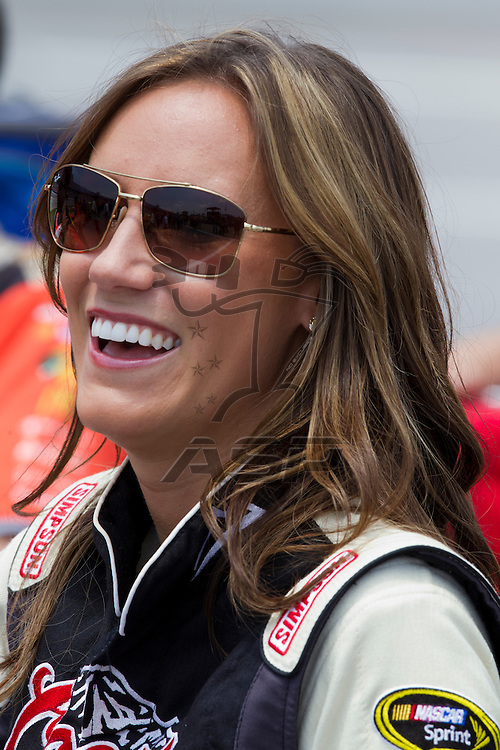 Talladega, AL - MAY 05, 2012:  Miss Coors Light, Rachel Rupert, hangs out on pit road during qualifying for the Aaron's 499 race at the Talladega Superspeedway in Talladega, AL.