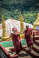 Monks visit Mt Popa to worship and admire the stunning views.