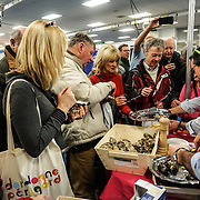London, UK. 27th January, 2017. Chefs demonstration Oyster tasting of Bretagne tourism at The France Show 2017 at Olympia London chef demonstration. Credit: See Li