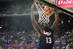 James Harden of USA during basketball match between National Teams of Slovenia and USA in Quarterfinals of FIBA Basketball World Cup Spain 2014, on September 9, 2014 in Palau Sant Jordi, Barcelona, Spain. Photo by Tom Luksys  / Sportida.com <br /> ONLY FOR Slovenia, France
