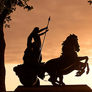 Boadicea, Queen of the Iceni statue, City of Westminster, London, England, UK in back<br />