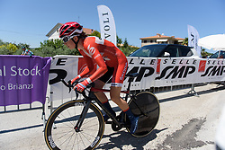 Cecilie Uttrup Ludwig begins Stage 5 of the Giro Rosa - a 12.7 km individual time trial, starting and finishing in Sant'Elpido A Mare on July 4, 2017, in Fermo, Italy. (Photo by Sean Robinson/Velofocus.com)