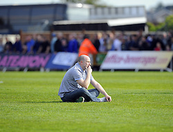 A Bristol Rovers fan is devastated seeing his side relegated front hue football league - Photo mandatory by-line: Joe Meredith/JMP - Mobile: 07966 386802 03/05/2014 - SPORT - FOOTBALL - Bristol - Memorial Stadium - Bristol Rovers v Mansfield - Sky Bet League Two