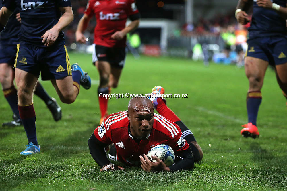 Nemani Nadolo of the Crusaders scoring a try during the Investec Super Rugby game between Crusaders v Highlanders at AMI Stadium, Christchurch. 12 July 2014 Photo: Joseph Johnson/www.photosport.co.nz