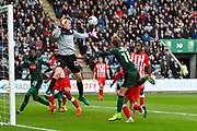 Oscar Threlkeld (18) of Plymouth Argyle goes near with a headed shot at goal during the EFL Sky Bet League 2 match between Plymouth Argyle and Accrington Stanley at Home Park, Plymouth, England on 1 April 2017. Photo by Graham Hunt.