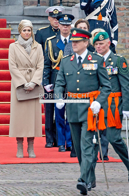 The Hague King Willem-Alexander and Minister Jeanine Hennis-Plasschaert and Queen Maxima attend the ceremony of the Militaire Willems-Orde which is awarded to majoor (Gijs) P. Tuinman.<br /> The Militaire Willems-Orde is the highest Dutch Knighthood for 'Courage, Tact and Loyalty' in the Army.