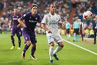 Real Madrid's Lucas Vazquez and Fiorentina's Federico Chiesa during XXXVIII Santiago Bernabeu Trophy at Santiago Bernabeu Stadium in Madrid, Spain August 23, 2017. (ALTERPHOTOS/Borja B.Hojas)