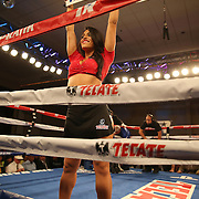 A ring girl holds up the card signaling the 10th round in the fight between Gamalier Rodriguez and Orlando Cruz at the Bahia Shriners Center on Saturday, April 19, 2014 in Orlando, Florida.  (AP Photo/Alex Menendez)