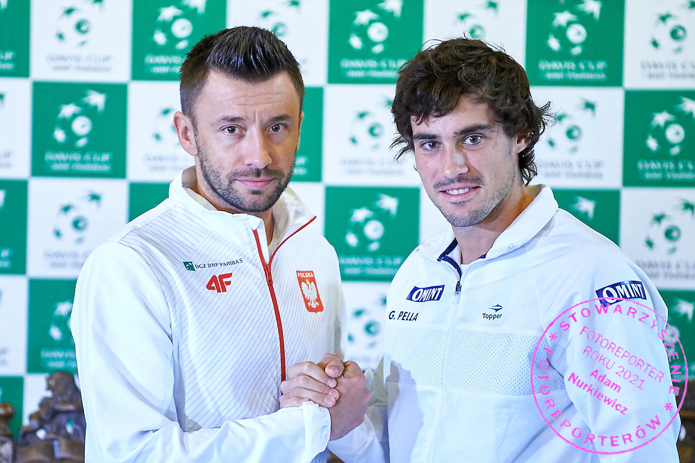 GDANSK, POLAND - 2016 MARCH 03: (L) Michal Przysiezny of Poland and (R) Guido Pella of Argentina pose to the face off picture after official draw while press conference one day before the Davies Cup / World Group 1st round tennis match between Poland and Argentina at Ergo Arena on March 3, 2016 in Gdansk, Poland<br /> <br /> Picture also available in RAW (NEF) or TIFF format on special request.<br /> <br /> Any editorial, commercial or promotional use requires written permission.<br /> <br /> Mandatory credit:<br /> Photo by &copy; Adam Nurkiewicz / Mediasport
