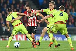 08-12-2015 NED: UEFA CL PSV - CSKA Moskou, Eindhoven<br /> PSV wint met 2-1 en plaatst zich voor de volgende ronde in de CL / Luuk de Jong #9, Pontos Wernbloom #3, Sergei Ignashevich #4
