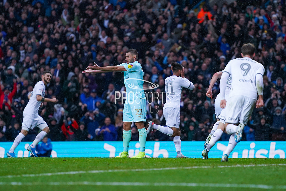 Leeds United forward Tyler Roberts (11) scores a goal and celebrates to make the score 1-0 during the EFL Sky Bet Championship match between Leeds United and Queens Park Rangers at Elland Road, Leeds, England on 2 November 2019.