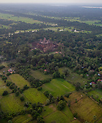 Aerial view of Pre Rup at sunset, east of Angkor Wat, Siem Reap, Cambodia.