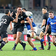 Charlie Faumuina, (who has relatives in Alofau, Tutuila) makes a quick pass to All Blacks teamate, Lima Sapoaga (who has relatives in Tutuila's Western District), as Sony Bill Williams (with relatives everywhere) looks on. The New Zealand All Blacks defeated Manu Samoa 15's 83-0 at Eden Park, Auckland, New Zealand.  Photo by Barry Markowitz, 6/16/17